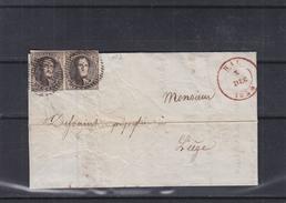 Belgique - Lettre De 1850 - Oblit Hal - Exp Vers Liège - Paire Du N° 3 - Valeur 450 Euros