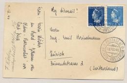 Nederland - 1946 - 12,5 En 15 Cent Konijnenburg Met KB Postagent Batavia-Amsterdam/2 Naar Zürich / Schweiz