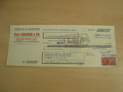 CHEQUE PIERRE LOULERGUE Neuvy-saint-Sépulcre TUILERIE 1953 - Chèques & Chèques De Voyage