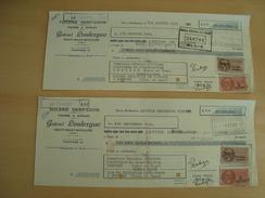 LOT DE 2 CHEQUES GABRIEL LOULERGUE TUILERIE SAINT-LOUIS Neuvy-saint-Sépulcre 1950 - Chèques & Chèques De Voyage