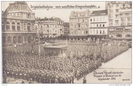 CARTE PHOTO CPA MILITARIA  PARADE DEUTSCHER FRUPPEN IN BRUSSEL 14/09/1914  ORIGINALAUFNAHYME VOM WESTLICHEN KRIEGSSCHAUP - Belgique
