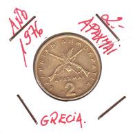 GRECIA  -  GREECE -  MONEDA DE  2 APAXMAI  AÑO 1976  -  Nickel-Brass, 24 Mm. - Grecia