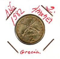 GRECIA  -  GREECE -  MONEDA DE  2 APAXMAI  AÑO 1982  -  Nickel-Brass, 24 Mm. - Grecia