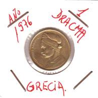 GRECIA  -  GREECE -  MONEDA DE  1  DRACHMA   AÑO 1976 -   Nickel-Brass, 21 Mm. - Grecia