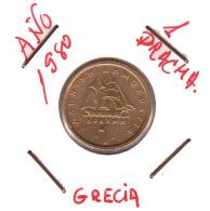 GRECIA  -  GREECE -  MONEDA DE  1  DRACHMA   AÑO 1980 -   Nickel-Brass, 21 Mm. - Grecia