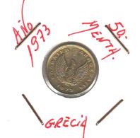 GRECIA  -  GREECE -  MONEDA DE  50  MENTA   AÑO 1973 -   Nickel-Brass, 18 Mm. - Grecia