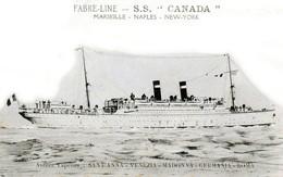 """FABRE-LINE - S.S. """"CANADA"""" Ligne Marseille-Naples-New-York - Très Beau Plan Animé - Dampfer"""
