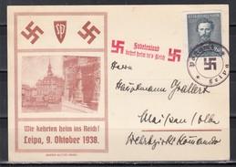 Dt.Reich Sudetenland 1938 Illustrierte Befreiungskarte  Leipa An Hauptmann Grallert,Wehrbezirkskommando