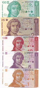 CROATIA - HRVATSKA - Hrvatski Dinar  Lot 5 Pcs. 1991  1, 5, 10, 25 & 100 Dinara - Croatia