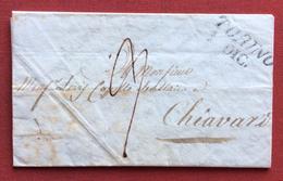 TORINO Annullo Lineare SU LETTERA COMPLETA DI  TESTO Per CHIAVARI IN DATA 1/12/1832  INTERESSANTE SISTEMA DI PIEGATURA - 1. ...-1850 Prefilatelia