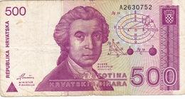 CROATIA - HRVATSKA -  500 Dinara 1991 - Croatie