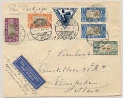 Nederlands Indië - 1934 - Crisiswerk AMVJ Serie Overcompleet Op Postjagervlucht Van Batavia Naar Amsterdam / Nederland