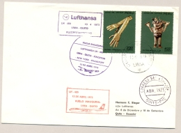 Peru - 1973 - 2 Stamps On 1st Flight Lufthansa Lima - Quito - Peru