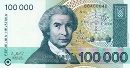 CROATIA - HRVATSKA -  100000 Dinara 1993 - Croatie