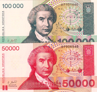 CROATIA - HRVATSKA -  50000 & 100000 Dinara 1993 2 PCS. - Croacia
