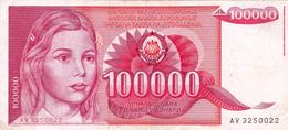 Yugoslavia , SFRJ  100000  Dinara 1989 - Yugoslavia