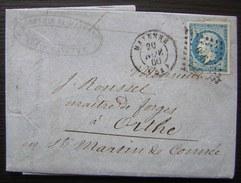 1860 Comptoir De Mayenne, Lettre Pour Mr Rousseil Maître De Forges à Orthe  (saint Martin De Commée) - 1849-1876: Période Classique