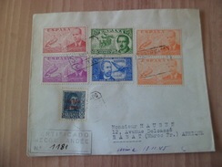 Lettre Recommandée Barcelone Le 13/11/1945 Pour Rabat Censurée à Rabat Poste Aérienne N° 182;195x2;196,197;227 Et 229 TB - 1931-50 Cartas