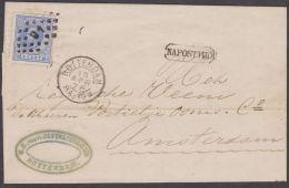 Nederlandse  Vouwbrief  10 April 1876 Van Rotterdam Naar Amsterdam Met Stempl Naposttijd. - Lettres & Documents
