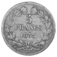 5 FRANCS  LOUIS-PHILIPPE 1er   TETE LAUREE   1833 M  Etat TB [5F022 FR-LADG] - France