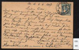 Stadtbrief Braunschweig Beforderung 2½pf Blue Lion Design Ganzsache, Used, Hammonia / Braunschweig 6.3.1897. - Private