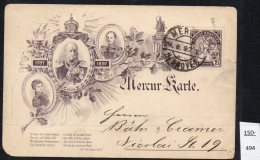 Mercu Hannover Stadtpost 2½pf Jubilaum Ganzsache : Kaiser, Mercury, Used 1897. - Private