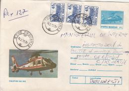 57913- DAUPHIN SA 365 HELICOPTER, REGISTERED COVER STATIONERY, RESTAURANT STAMPS, 1995, ROMANIA - Hubschrauber