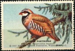 USA 1947. Chukar Partridge, Perdrix. Timbre / Vignette (3,5 X 5,5 Cm), National Wildlife Fed.