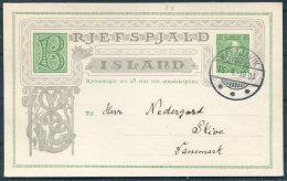 1903 Iceland 5 Aur Chistian 9th Stationery Postcard, Brjefspjald. Reykjavik - Denmark - Covers & Documents