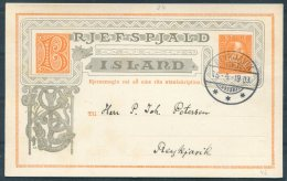 1903 Iceland 3 Aur Chistian 9th Stationery Postcard, Brjefspjald. Reykjavik Local Useage - Covers & Documents