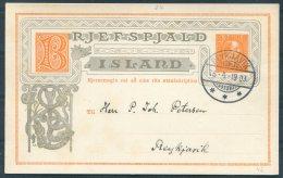 1903 Iceland 3 Aur Chistian 9th Stationery Postcard, Brjefspjald. Reykjavik Local Useage - 1873-1918 Dipendenza Danese