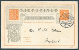 1903 Iceland 3 Aur Chistian 9th Stationery Double Postcard, Brjefspjald. Reykjavik Local Useage - Covers & Documents