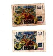 2 Billets De 50 Francs -Le Verrier -voir état