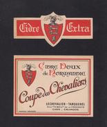 Etiquette De Cidre De Normandie.   Coupe Des Chevaliers.  Lechevalier-Tanquerel.  Caen. - Other