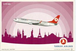 B 737-800 Of The Turkish Airlines,   Unadressed Postcard - 1946-....: Modern Era