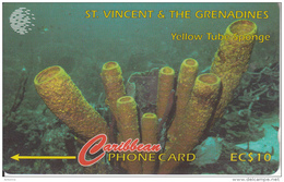 ST.VINCENT & GRENADINES(GPT) - Yellow Tube Sponge, CN : 52CSVF, Tirage 9900, Used - St. Vincent & The Grenadines
