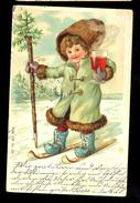 Girl On Skie, Glass Of Wine / Long Line Postcard / Postcard Circulated, 2 Scans - Künstlerkarten