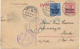 OC 18 - Bleu Très Foncé Sur Entier 10 Centimes - Liège 5  30.6.17 Vers Pays Bas - Venlo 5.7.17 - Censure Emmerich - [OC1/25] General Gov.