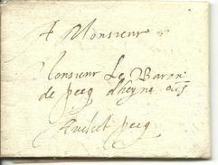 Vouwbrief Van 29 Augustus 1603 Van Oudenaarde Naar Baron De Pecq D'heyne Te ?; Geen Postale Aanduidingen - 1598-1621 (Onafhankelijke Nederlanden)