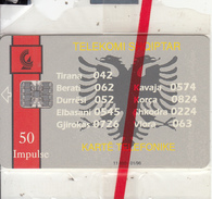 ALBANIA - Telecom Shqiptar 50 Units(reverse INSIG), First Chip Issue, Tirage 11600, 01/96, Mint - Albania