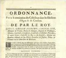 1726 ORDONNANCE Agen Condom Louis-Urbain AUBERT, Chevalier Marquis De TOURNY Intendant Bordeaux - Gesetze & Erlasse