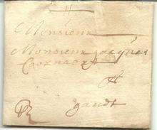 Vouwbrief Van 3 Februari 1661 Van Oudenaarde Naar Gent Met Aanduiding Dat Port Moet Nog Betaald Worden - 1621-1713 (Spaanse Nederlanden)