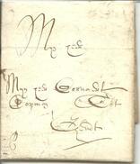 Vouwbrief Van 28 December 1680 Van Oudenaarde Naar Gent Met Aanduiding Dat Port Moet Nog Betaald Worden - 1621-1713 (Spaanse Nederlanden)