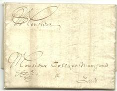 Vouwbrief Van 24 Februari 1675 Van Oudenaarde Naar Gent Met Aanduiding Dat Port Moet Nog Betaald Worden - 1621-1713 (Spaanse Nederlanden)