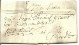 Vouwbrief Van 1 Maart 1712 Van Oudenaarde Naar Gent Met Aanduiding 'par Amis' - 1621-1713 (Spaanse Nederlanden)