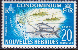 NEW HEBRIDES(French Inscr.) 1965 SG F114 20c MNH RF At Left Fishing - French Legend