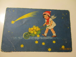 CHRISTMAS ANGEL WITH CARRIAGE FULL OF STARS, OLD POSTCARD , 0 - Angels