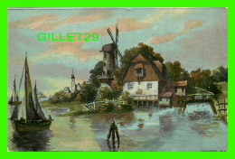 MOULIN À VENT - PEINTURE - CIRCULÉE EN 1908 - DOS 3/4 - - Moulins à Vent