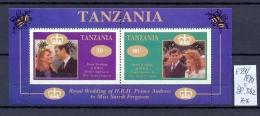 TANSANIA -  381E/F = Block B62  Hochzeit Prinz Andrew + Sarah Ferguson  Kompl., Postfrisch - Tanzania (1964-...)