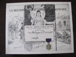 Diplome Medaille  Croix Des Services Civiques    Guerre De 1914 1918 - 1914-18